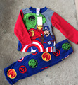 Free Shipping 6 Sets/lot New 4-10T fleece fabric Children's pajamas boy  revenge green giant The Hulk winter nightwear