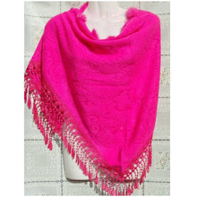 Hot Pink Triangle Chinese Women s Cashmere Rabbit Fur Shawl font b Scarf b font font