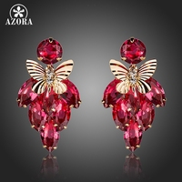 Rose Red Cubic Zircon Botryoid With Gold Plated Butterfly Drop Earrings FREE SHIPPING Azora TE0100