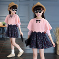 2PCS Fashion Patchwork Spring Baby Girls Bat Dresses Long Sleeve Ladies Girls Princess Dress Clothes Sets Brand Kids Dress