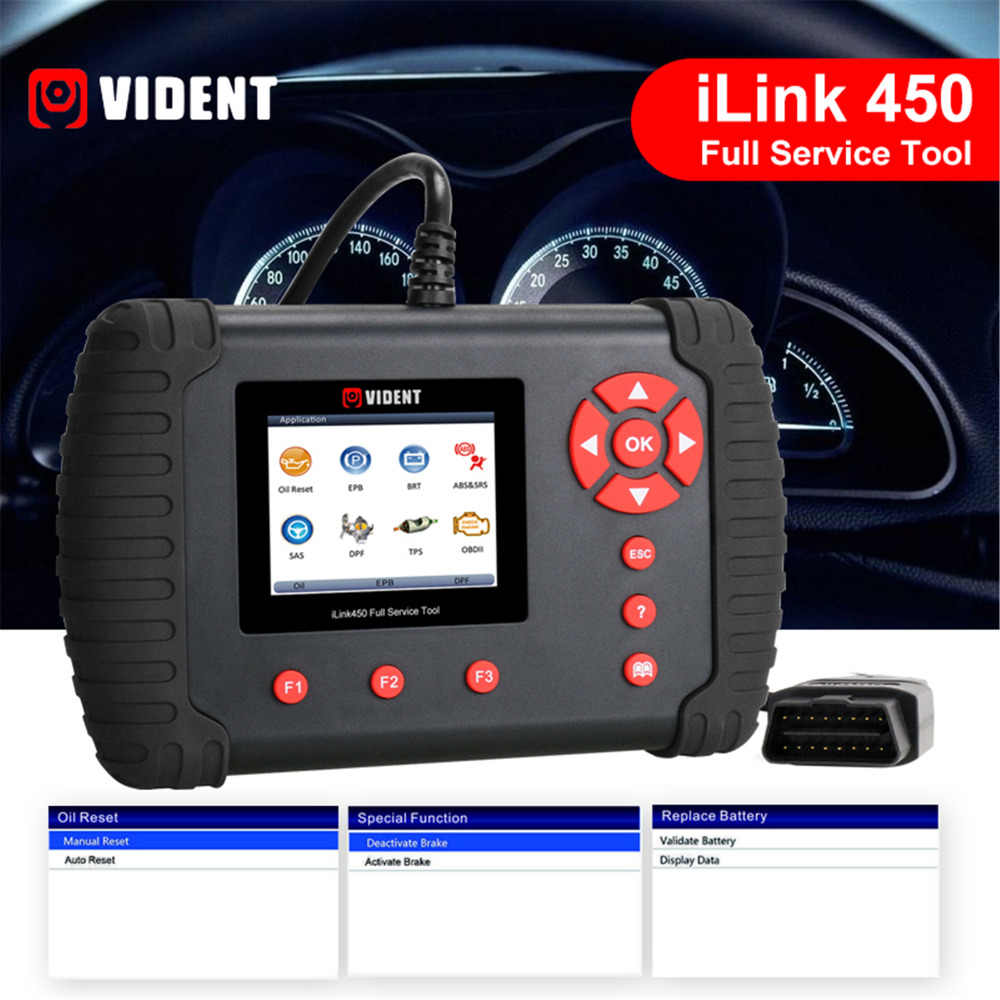 VIDENT iLink450 Full System Diagnostic Tool Oil Reset EPB ABS SRS SAS TPS  BRT Airbag Reset Throttle Body Alignment DPF