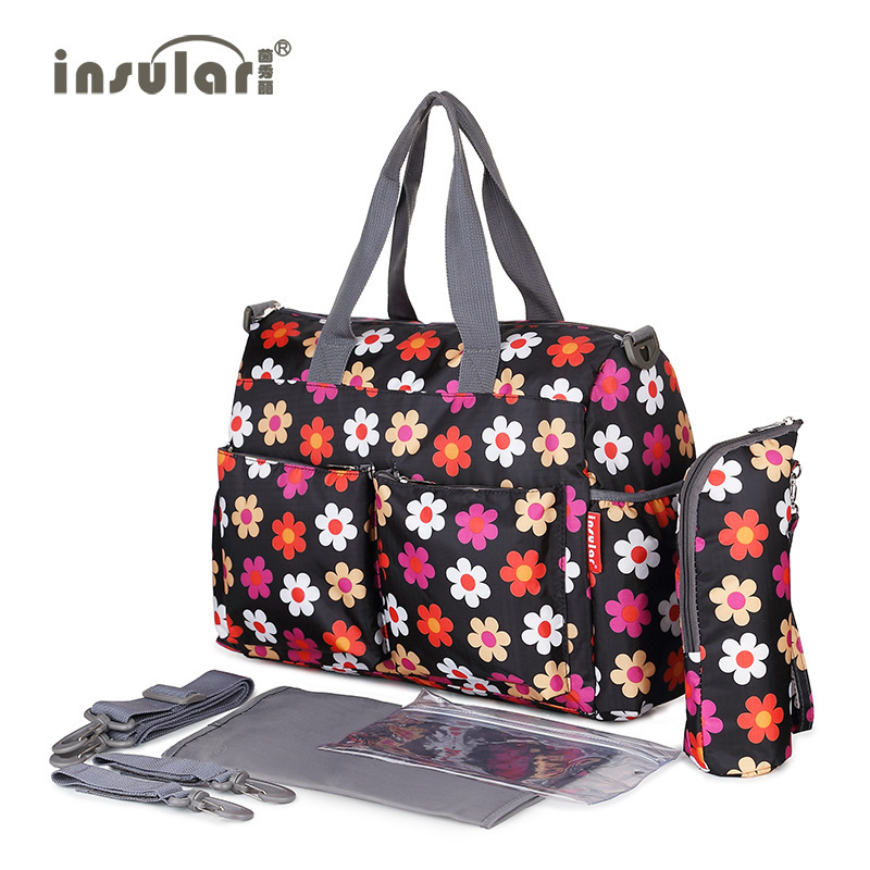 Insular new waterproof flower maternity mother diaper bags baby nappy changing stroller bags mom big handbag mummy diaper bag bagsmart women bag baby nappy changing bags diaper bag mother shoulder bag mummy handbag baby stroller bag nappy changing pad