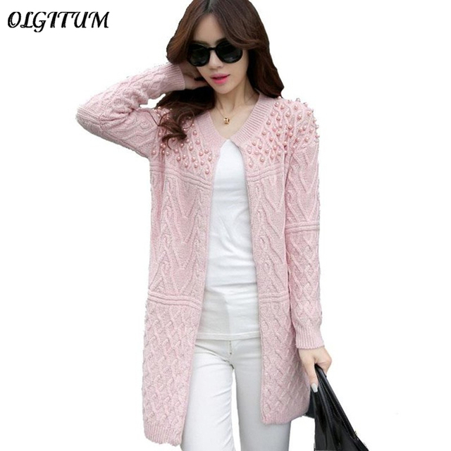 fc54c12f7 Autumn Winter Brand Design Beading O-neck Long Knitted Sweaters Women coat  Elegant Casual Cardigans Knitwear