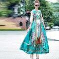 Женщины долго платье партии dress 2016 осенью новый Европейская мода впп люксовый бренд одежды элегантный королевский печати floral maxi dress