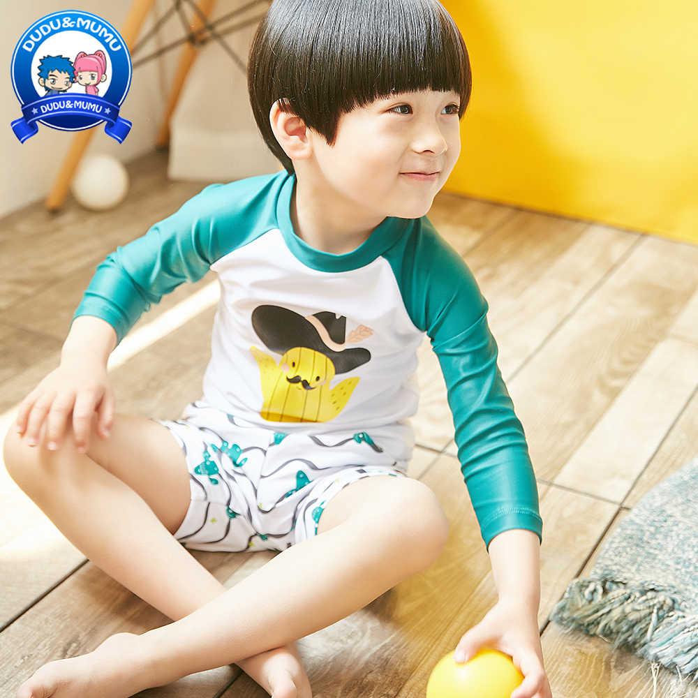 bad81f1bed195 New Boy's Swimwear 3-piece Set Long Sleeve Swimwear Kids Round Collar  Zipper Swimming Suit