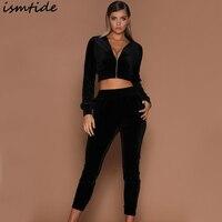 Ismtide Women Set Pants+Short Jacket Suits Tracksuit Women 2 Piece Sets Black Pink Brand Sweat Suit Women Set Clothing 2017