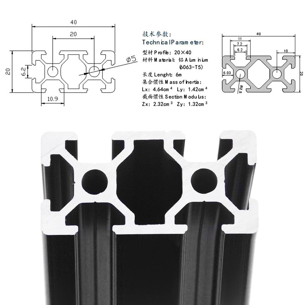 YANGDONG CHash 2040 in Alluminio anodizzato Profilo Standard Guida lineare in Alluminio Profilo 2040 Estrusione 2040 Adatto a CNC Incisione Accessori della Macchina Stampa 3D Color : 100 mm