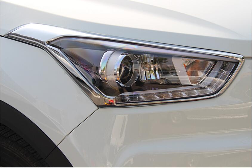 For Hyundai Creta ix25 ABS Chrome Headlights/Rearlights cover Car Accessories  2014 2015 2016 2017 упоры капота автоупор для hyundai creta 2016 2 шт
