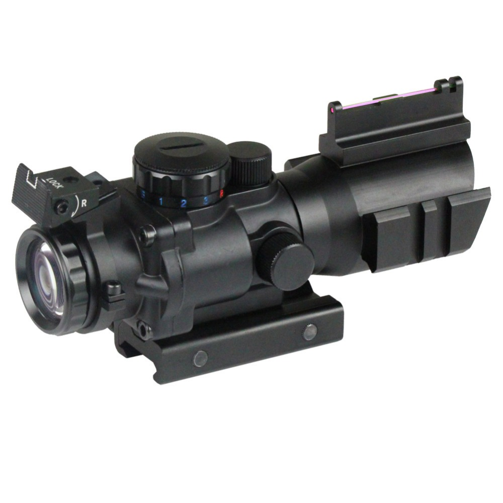 4X32 Prismatic Rifle Scope with Fiber Optic Sight Tri-illuminated Recticle Hunting Air Soft Tactical prismatic kids для дома