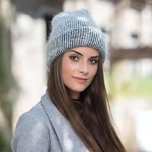 Bonnet simple en fourrure de lapin pour femme, casquette chaude, automne et hiver, 2019
