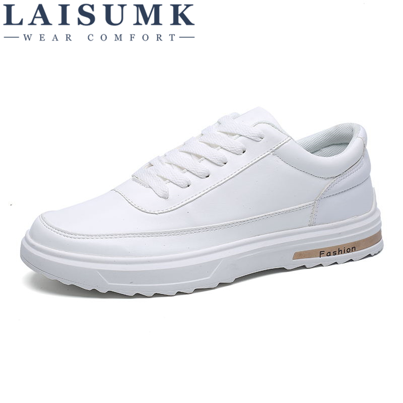 2018 LAISUMK Luxury Brand Men Shoes Casual Male Shoes White Leather Sneakers Casual Men Flats Fashion Men Shose Chaussure Homme ...