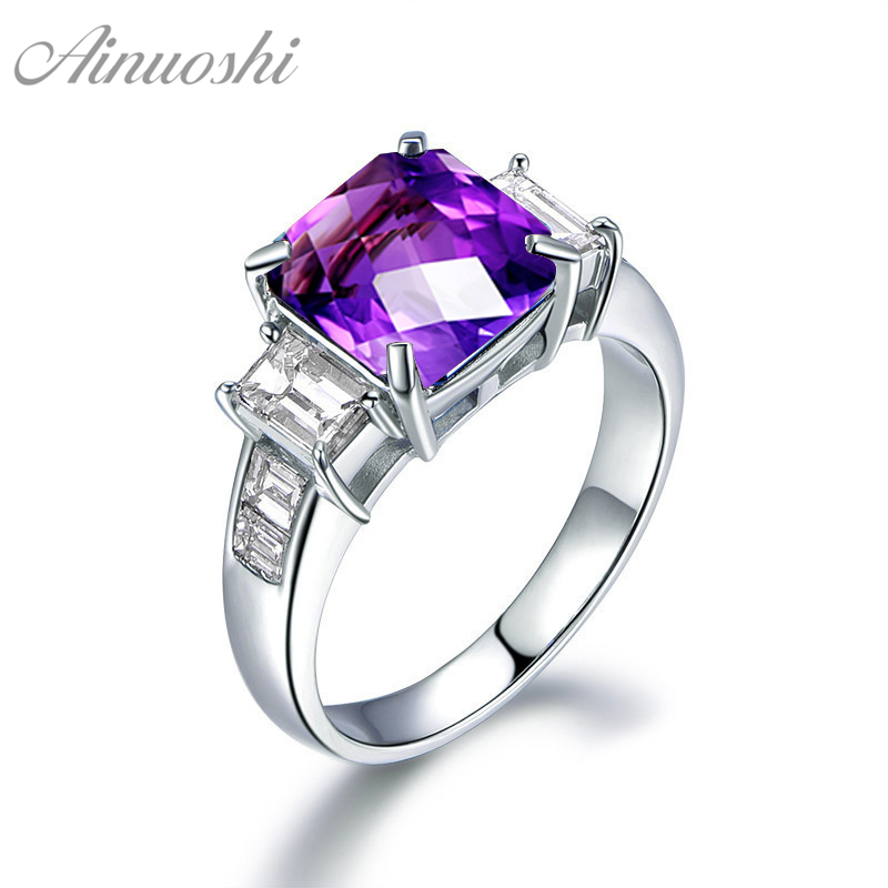 AINUOSHI Natural Amethyst Geometric Ring 3ct Emerald Cut Gemstone Engagement Party Jewelry Women Ring 925 Sterling Silver RingAINUOSHI Natural Amethyst Geometric Ring 3ct Emerald Cut Gemstone Engagement Party Jewelry Women Ring 925 Sterling Silver Ring