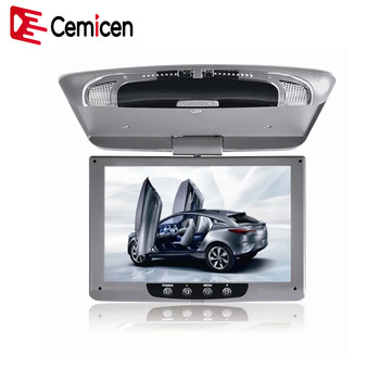 Cemicen 9 Inch 800*480 Car Roof Mount LCD Color Monitor Flip Down Screen Overhead Multimedia Video Ceiling Roof mount TV Display image