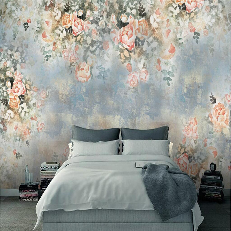 Wall Mural Wallpaper 3D Photo Wallpaper Bedroom Living Room Hotel Flower 3D Wall Mural Wallpaper Vintage Decorative Wall Sticker flower bridge river pattern 3d wall art sticker