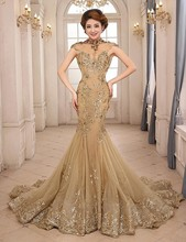 Vestido De Festa 2016 Mermaid Evening Dresses Gowns Gold Luxury Night Applique High Neck Sheer Cap Sleeve open Back Party Gown