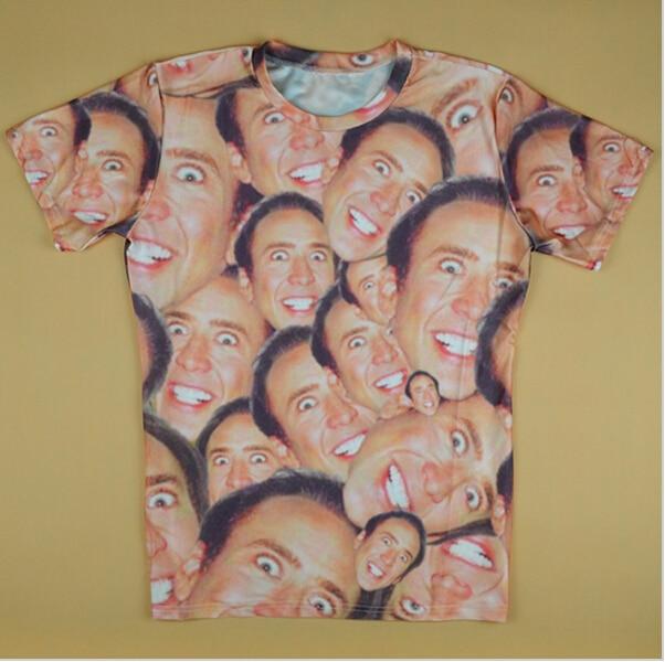 c9e4d0e0e 2016 tshirt homme funny Nicolas cage Crazy 3D Stare at you 3d T-shirt for