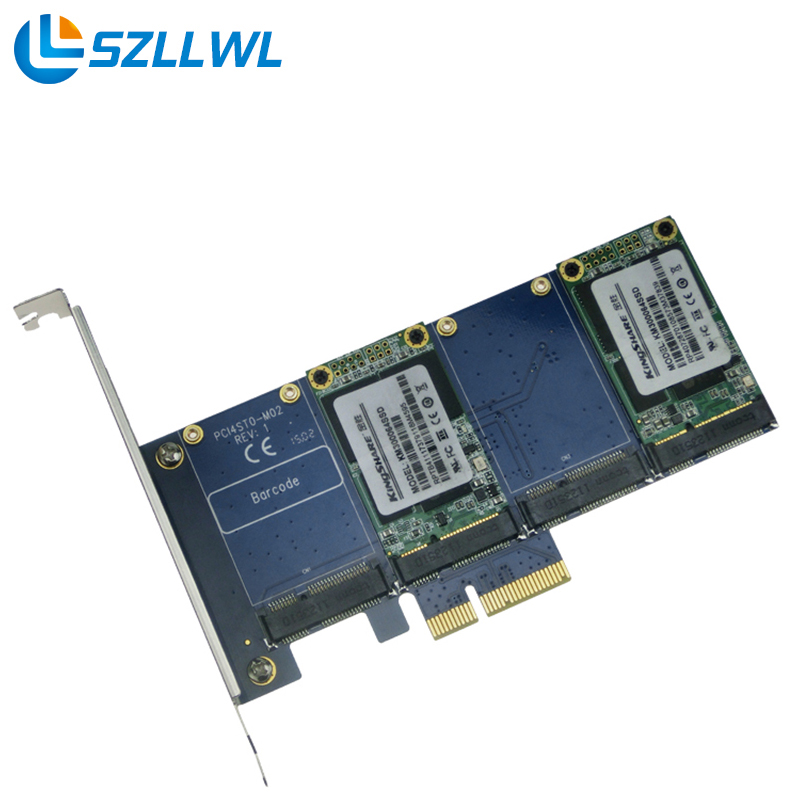 PCI-e to mSATA expansion cards PCIe to 4 port MSATA solid state hard drive adapter card RAID card new msata ssd dual port to sata ii adapter card with pci e bracket 79886