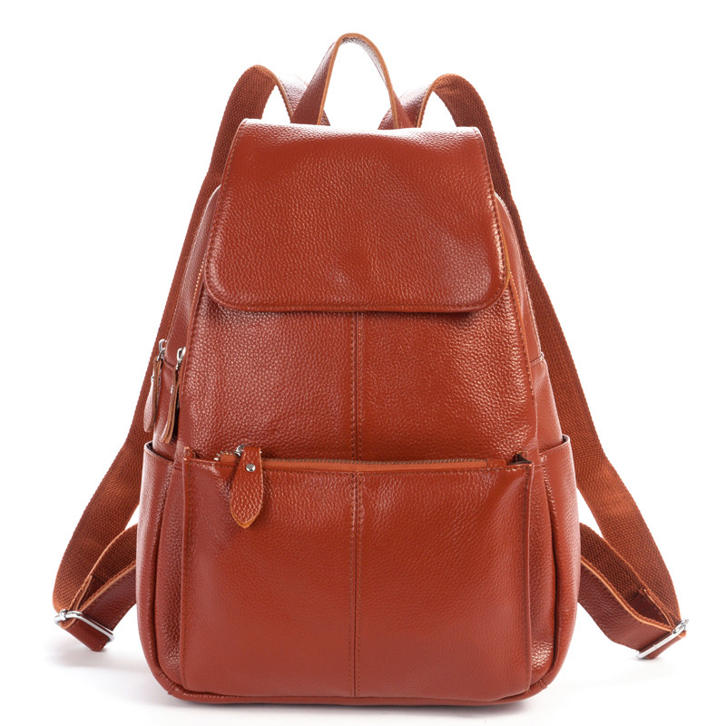 100% Guarantee Genuine Leather Backpack Natural First Layer Cow Leather Womens Travel Bags Soft Cowskin School Bag Backpacks