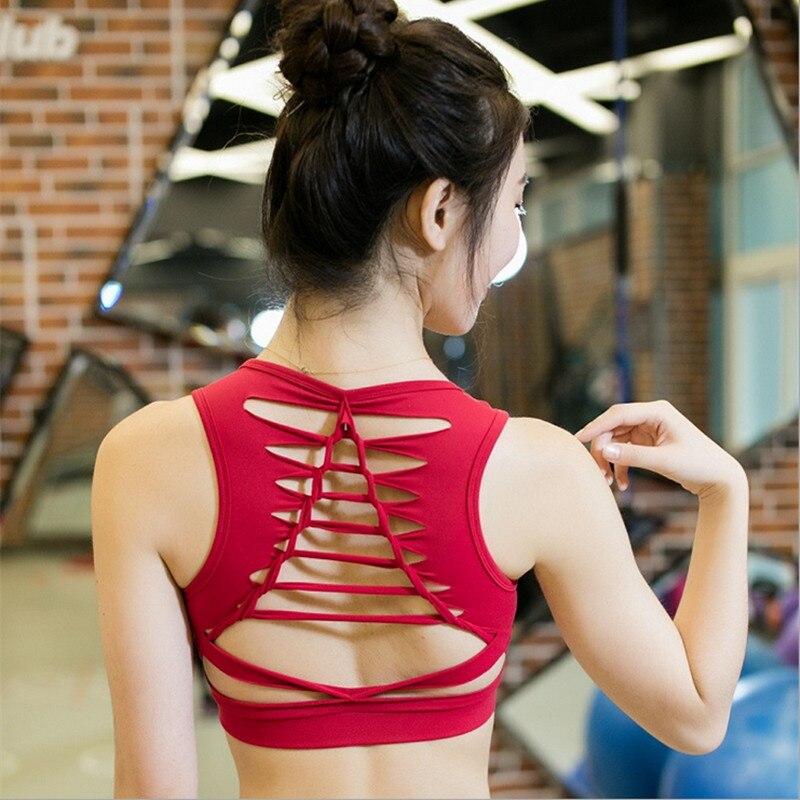 Prix pour 2017 Nouveau Sexy Retour Bandage Femmes Sport Soutien-Gorge Push Up antichoc Avec Rembourrage Pour Femmes Courir Gym Fitness Jogging Yoga soutien-gorge