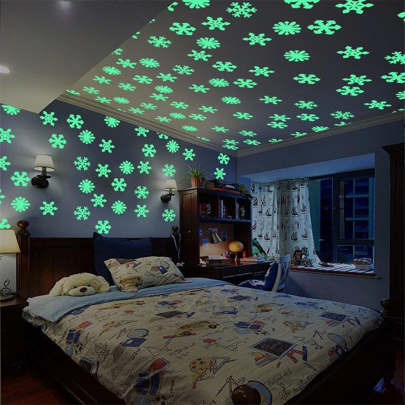 Autocollants muraux fluorescents, étoile et lune, stockage d'énergie, lueur dans la nuit, lumineux, pour chambre d'enfant, salon