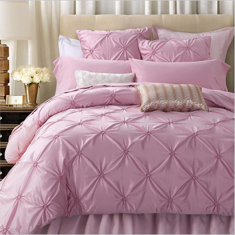 Pink Hand-made Bedding Set King Queen Size 4pcs Luxury Solid Color Satin Silk/Cotton Bed Set Duvet Cover Bed Linen Home Textile 15
