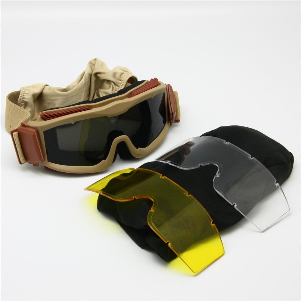 Prix pour Moto Lunettes 3 Lentille Kit, Alpha Armée Balistique Militaire lunettes de Soleil Anti-brouillard Tactique Casque Lunettes, BB Gun Pare-balles