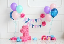 Laeacco Baby 1st Birthday Colorful Balloons Flowers Photography Background Customized Photographic Backdrops For Photo Studio