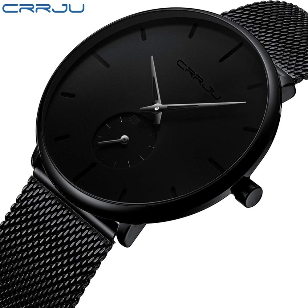 CRRJU Full Steel Watch Men Luxury Casual Watch Famous Dress Fashion Quartz Watches Unisex Ultra Thin Wristwatch erkek kol saati