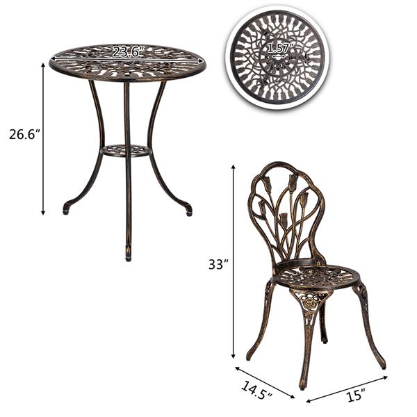 luxury table/chair European tulip outdoor wrought iron table and chair three piece bronze|  - title=
