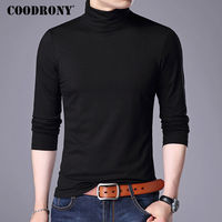 COODRONY 2017 Autumn Winter New Arrival Turtleneck Long Sleeve T Shirt Men Brand Clothing Pure Cotton
