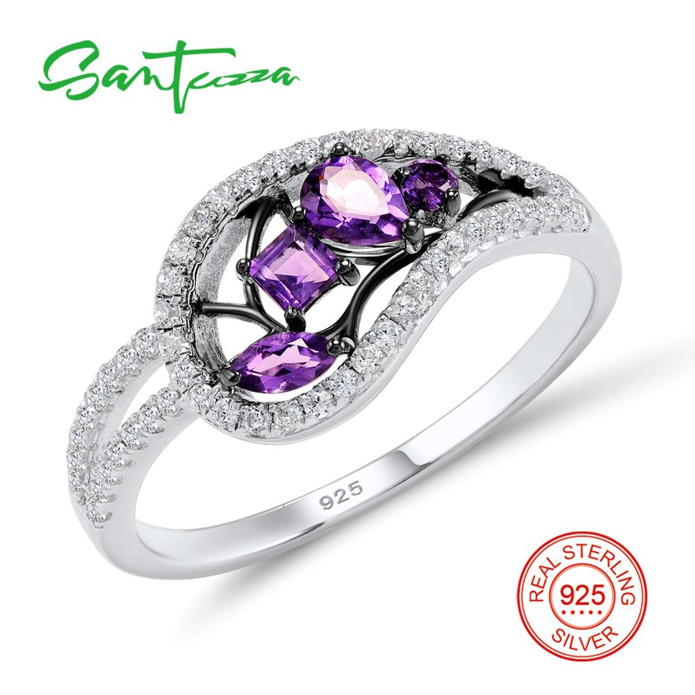 Silver Rings for Woman Purple Crystals White Cubic Zirconia Stones Rings Pure 925 Sterling Silver Fashion