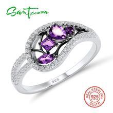 Серебряные кольца для женщина фиолетовый кристаллы белые кубического циркония камни кольца из стерлингового серебра 925 ювелирные изделия
