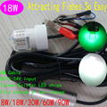 12V Mini LED Deep Drop Underwater Fishing Squid Fish Lure Light Green White 18W LED Dock Fishing Lamps 8pcs/lot