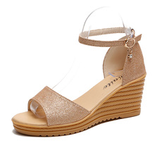 Women Sandals Summer New Women Shoes Wedges Sandals Gold Female Open Toe High Heels Non-slip Thick Sole Shoes Students Flats