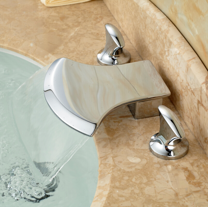 Creative Ax Shape Brass Waterfall Bathroom Sink Basin Mixer Taps Dual Handle Sanitary Mixer Water Faucet