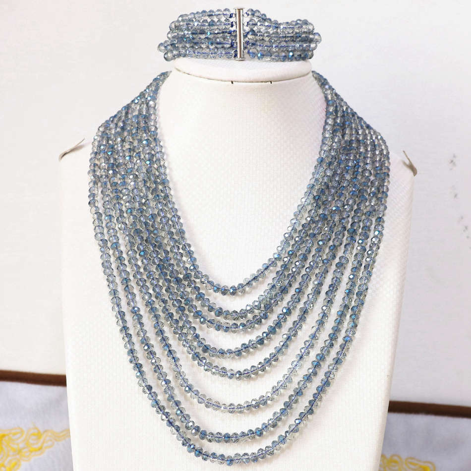 New blue crystal glass 4x6mm beads fashion diy jewelry set 8 rows chain necklace 5 rows bracelet B855