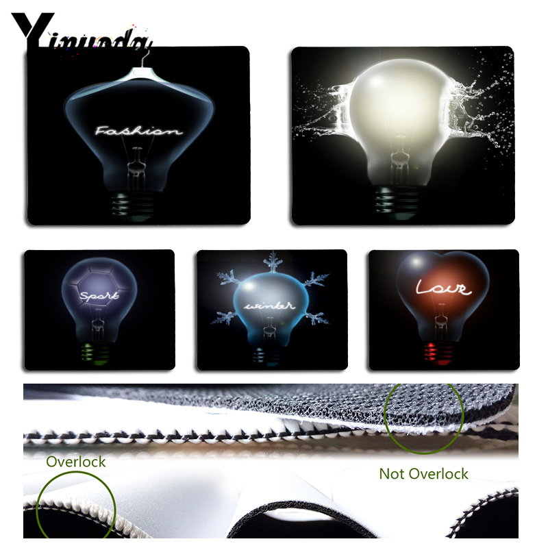 Yinuoda Vintage Cool Creative light bulb Computer Gaming Mousemats Size for 180x220x2mm and 250x290x2mm Rubber Mousemats