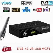 Vmade DVB S2 V5 HD цифровое спутниковое ТВ приставка 1080 p H.265/HEVC Поддержка CCCAM Dolby AC3 YouTube DVB S2 V5 ТВ приемник + USB wifi