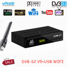 Vmade DVB S2 V5 HD Dijital Uydu Set Üstü Kutusu 1080 p H.265/HEVC Desteği CCCAM Dolby AC3 YouTube DVB S2 V5 TV Alıcısı + USB WIFI