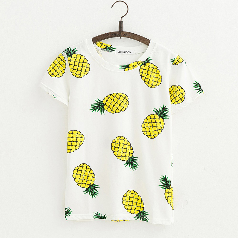 WowMity fashion brand design Pineapple Print Tees Short Sleeve T-shirt t shirt for women Summer Cotton t-shirt Causal t-shirts