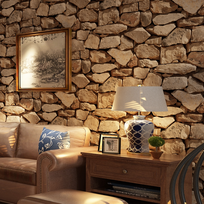 Vintage 3d stereo brick wallpaper rock wallpaper imitated stonewall restaurant hotel living room for Brick wallpaper interior design