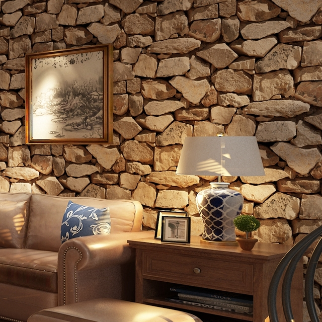 Vintage 3D Stereo Brick Wallpaper Rock Imitated Stonewall Restaurant Hotel Living Room Background