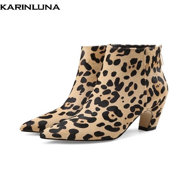 KARINLUNA/горячая Распродажа 2019 конского волоса леопарда короткие ботильоны женская обувь модные элегантные туфли с острым носком женская обувь ботильоны