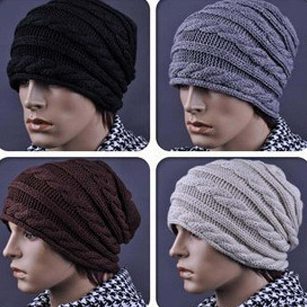 Men Knitted Winter Warm Ski Hat Braided Crochet Slouch Oversized Beanie Cap HATBD0019