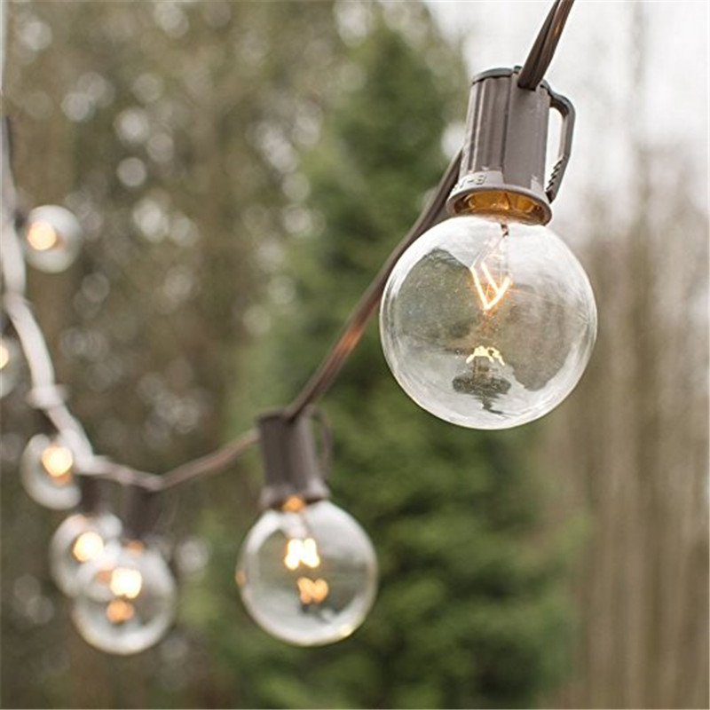 Brown Cable-G40 String Lights with 25 Globe Bulbs UL listed for Indoor/Outdoor Commercial Outdoor Hanging Umbrella Patio Lights ce emc saa rohs gs ul listed commercial 100w commercial led pendant lights