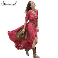 2016 Summer New Bohemian Long Dress Print Floral Red V Neck Sexy Maxi Dresses For Women