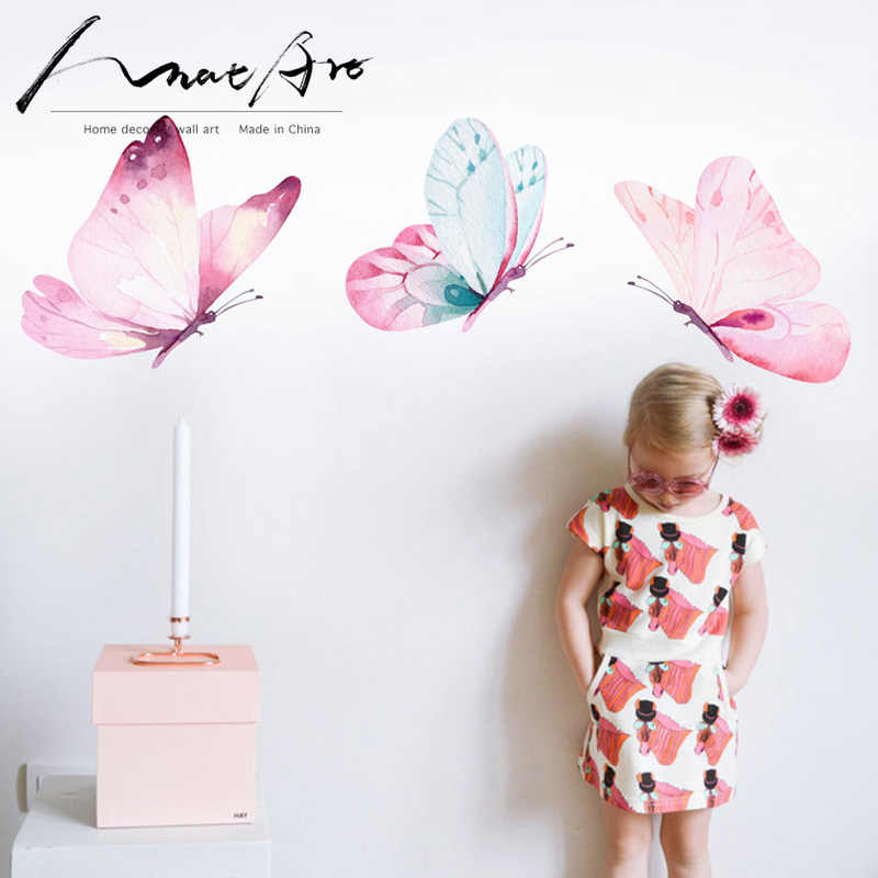 Butterfly Decoration Watercolour Painting Wall Art Wall Stickers For Kids Rooms Diy Home Decoration Accessories Nordic Bedroom Wall Stickers Aliexpress
