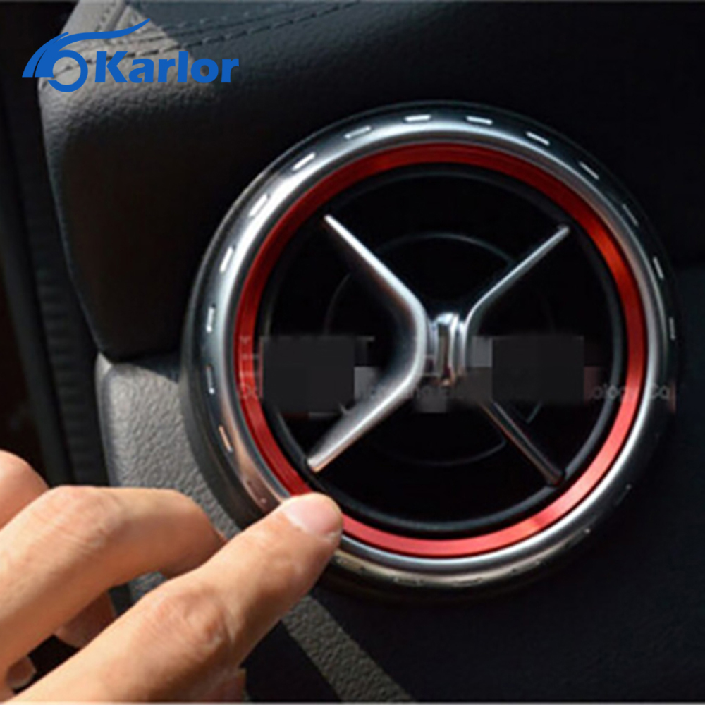 5pcs Red Air Condition Air Vent Outlet Ring Cover Trim for Mercedes Benz CLA C117 CLA180 CLA200 CLA250 X156 GLA GLA200 GLA220