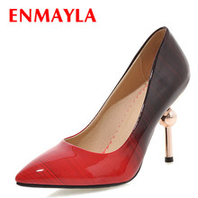 ENMAYLA High Heels Shoes Women Pumps Sexy Stilleto Pointed Toe Gradient Color Party Woman