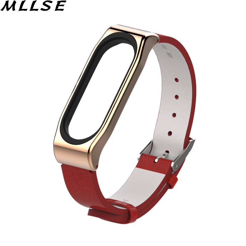 MLLSE 1PC PU Leather Replacement Wrist Strap Bracelet for Xiaomi Mi Band 3 Smart Watch Accessories Wristband in Smart Wristbands from Consumer Electronics